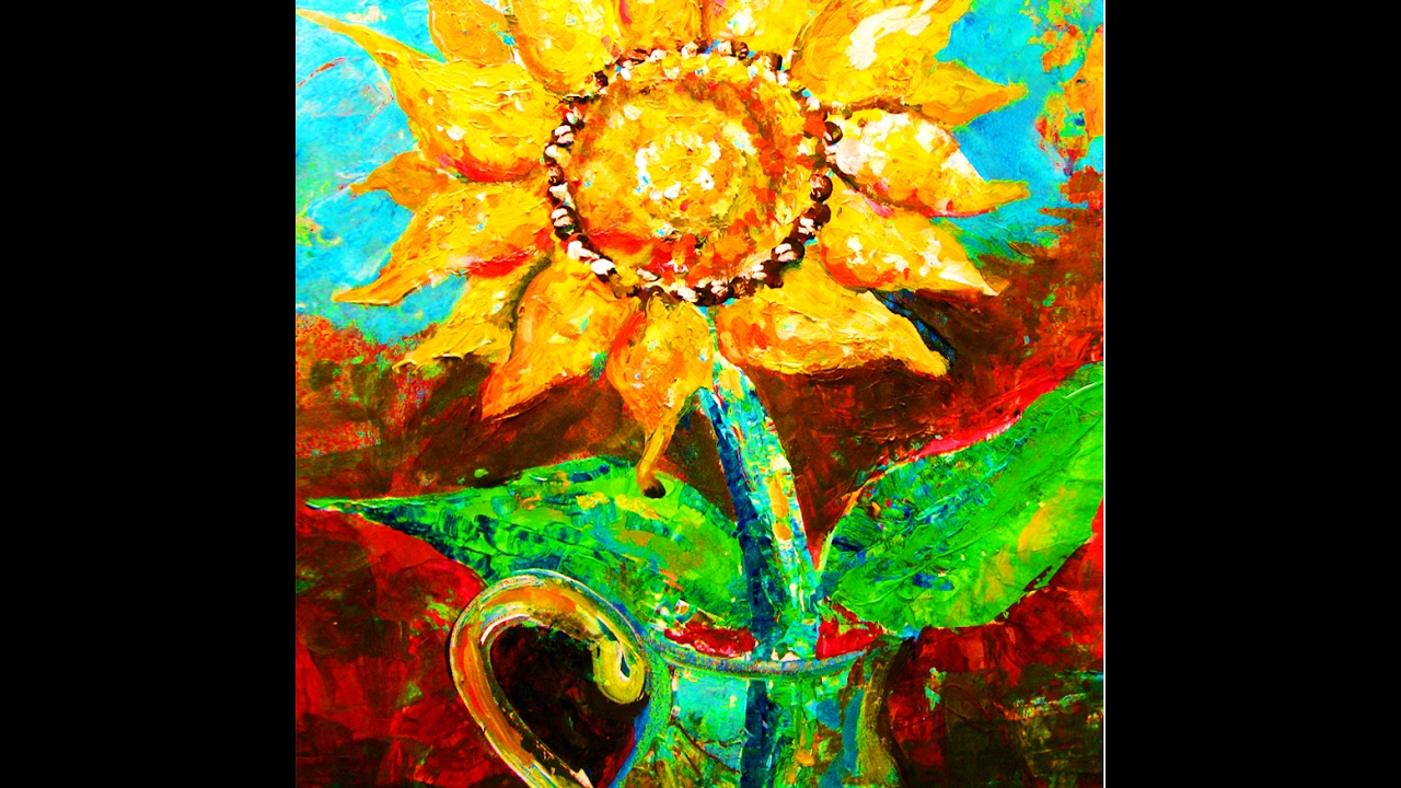 How to paint sunflower masterpiece painting with for How to paint sunflowers in acrylic