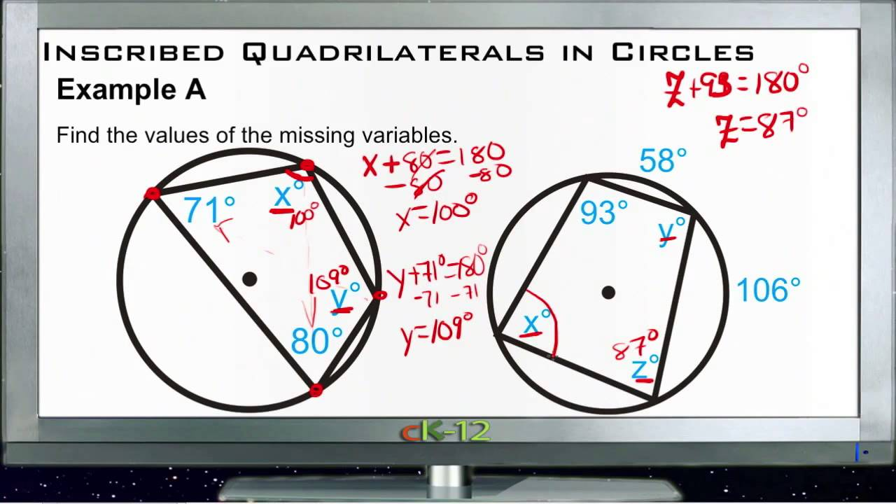 Inscribed Quadrilaterals In Circles Examples Basic