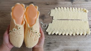 Следки с каймой спицами | Slippers with border knitting pattern