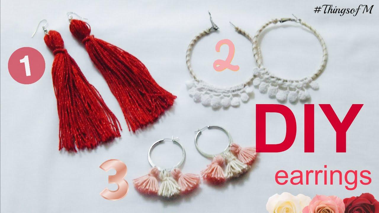 Diy: 3 Tipuri Diferite De Cercei  3 Different Type Of Earrings