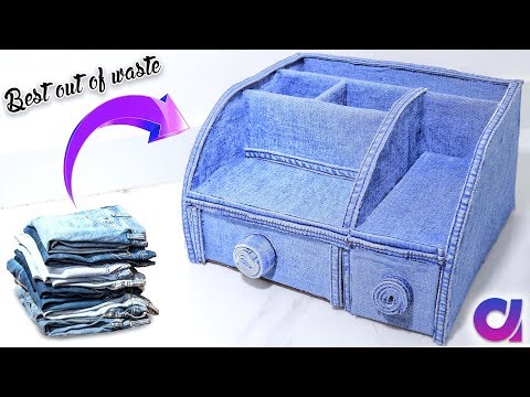Old Jeans Recycling | How to make a Stationery /Desk Organizer | Best out of waste | Artkala 259