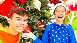 Nastya and Artem open Christmas presents