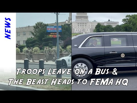 Buses of National Guard leaving today while Biden takes the Beast motorcade to FEMA Headquarters.