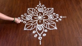 Simple 6x6 Dots Flowers Rangoli Design | Muggulu | Kolam