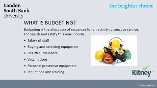 Budgeting for Health and Safety, mini-lecture