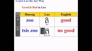 Good & Bad in Lao, Hmong and English
