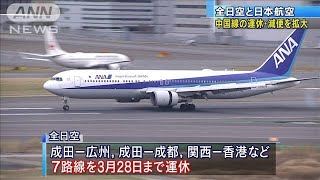 ANAとJALが中国便をさらに減便 新型ウイルス拡大で(20/02/06)