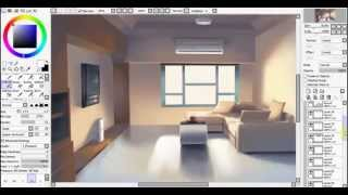 Painting Process 2D Anime Interior Background Art
