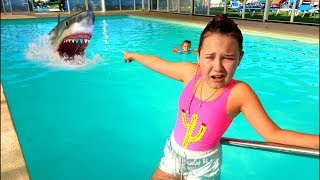 Baby Shark Saved By Ruby & Bonnie Kids Pretend Play in Swimming Pool