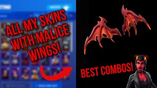 *NEW* FORTNITE MALICE SKIN! NEW MALICE WINGS BACKBLING SHOWCASED WITH ALL MY SKINS - BEST COMBOS!