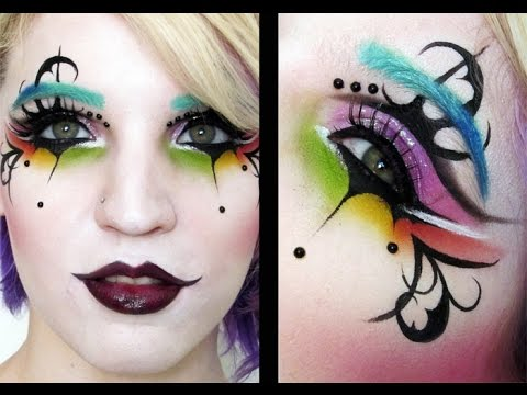 rainbow girl harlequin clown makeup tutorial youtube. Black Bedroom Furniture Sets. Home Design Ideas