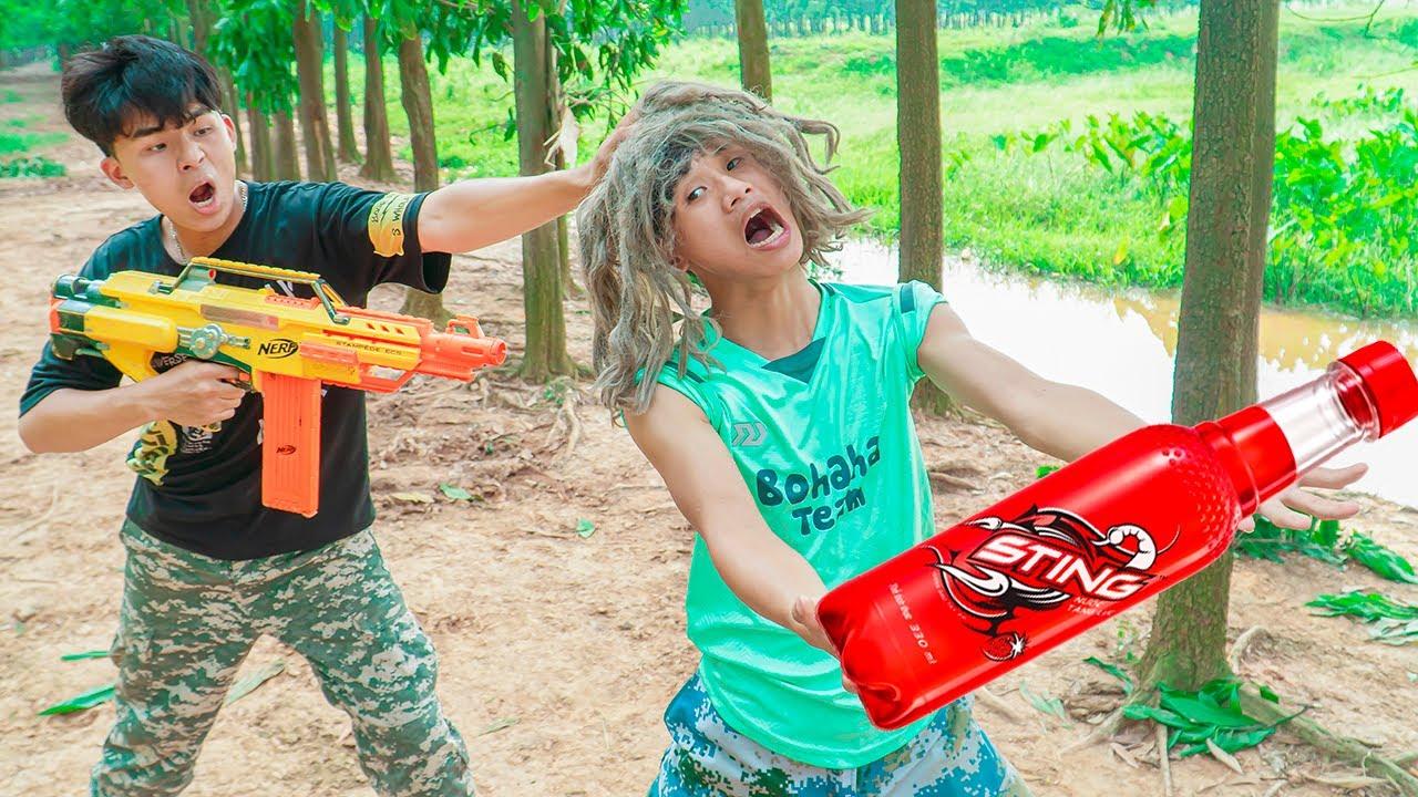 Battle Nerf War BSVMAN Go Delivery SODA & COMPETITION Nerf Guns Fight Man DRINK NERF BATTLE