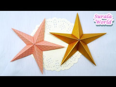 Star : How to make a paper Star (3D, Easy Origami, Christmas Tree Decoration)