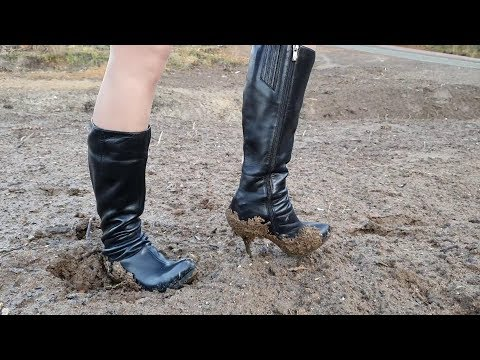 High Heels Boots In Mud, Muddy Boots, Boots Abuse, High Heels In Mud, Dirty Boots (scene 311)