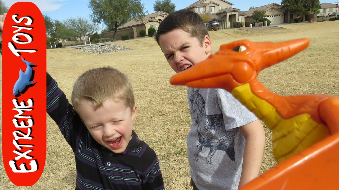 Pterodactyl Attack Boys Get Attacked By Toy Dinosaur At
