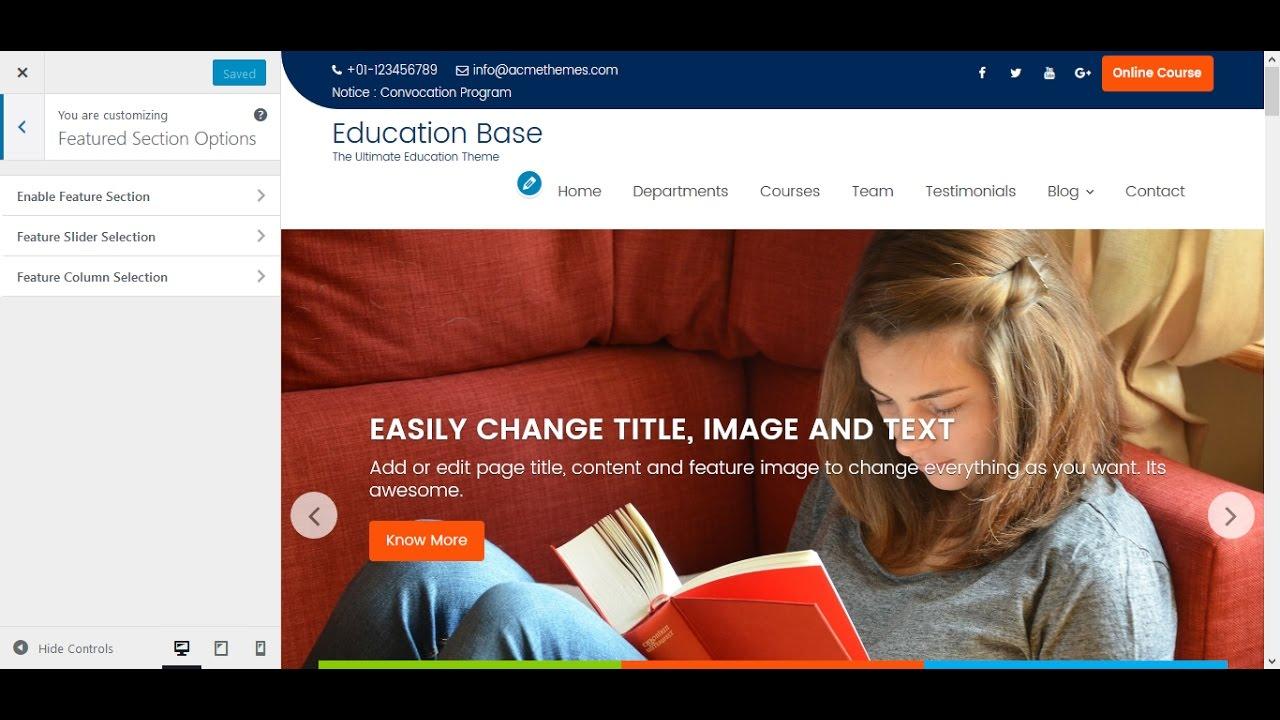 Education Base Wordpress Theme Slider Setup