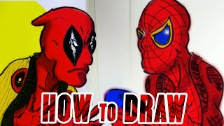 How to Draw cartoon  Deadpool vs Spiderman syaraku  どっちがクール?