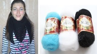 Вязание бактуса крючком-описание.Шарф-бактус или палантин.Бактус крючком для начинающих.crochet