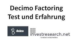 Decimo: Factoring für Kleinunternehmer Test und Erfahrung