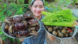 Yummy Field Crab Milk Cooking Taro Stalk - Crab Milk Recipe - Cooking With Sros