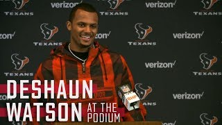 Deshaun Watson reacts to defeating Tom Brady and the New England Patriots