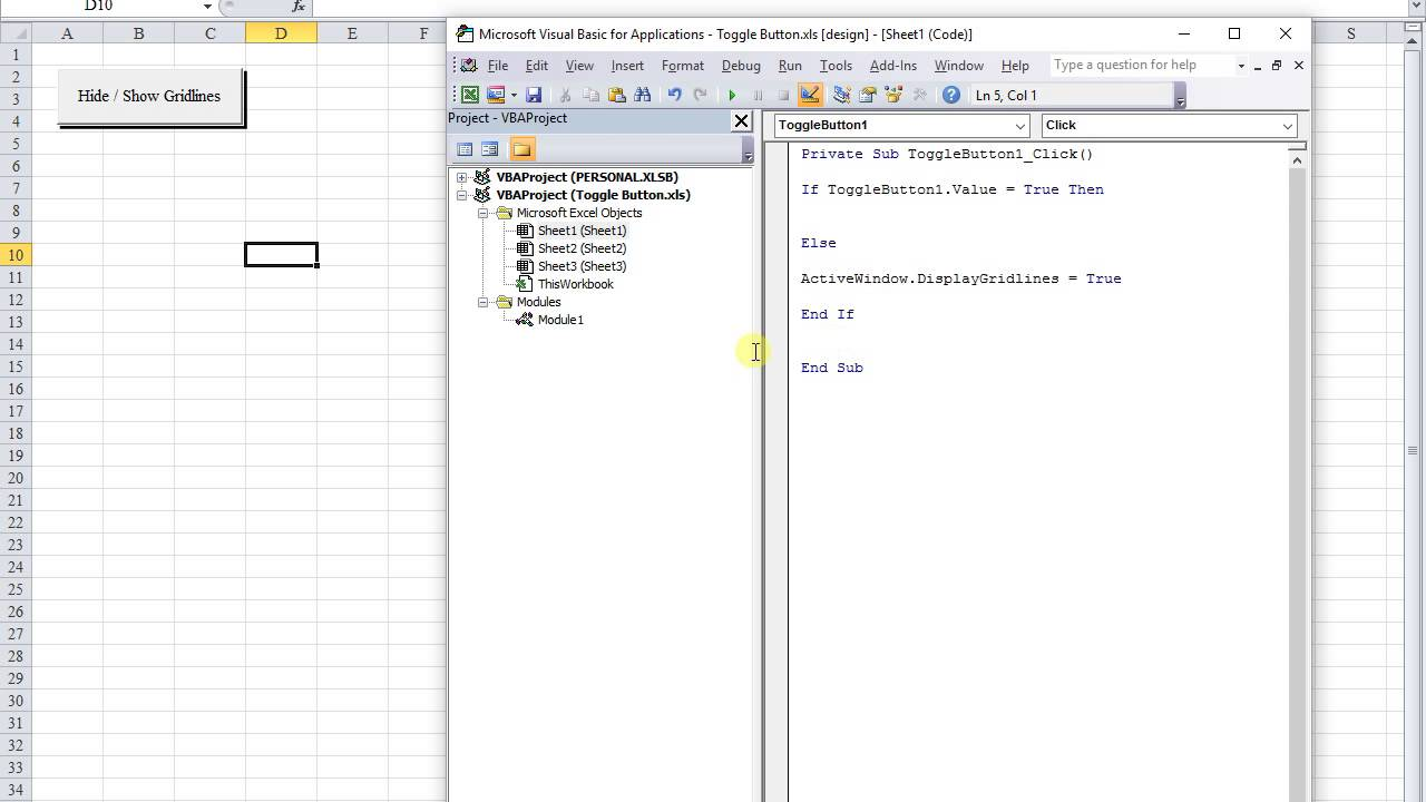 connecting the VBA code of a ToggleButton to a module