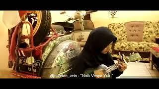 Cewek hijab maen ukulele , suara merdu