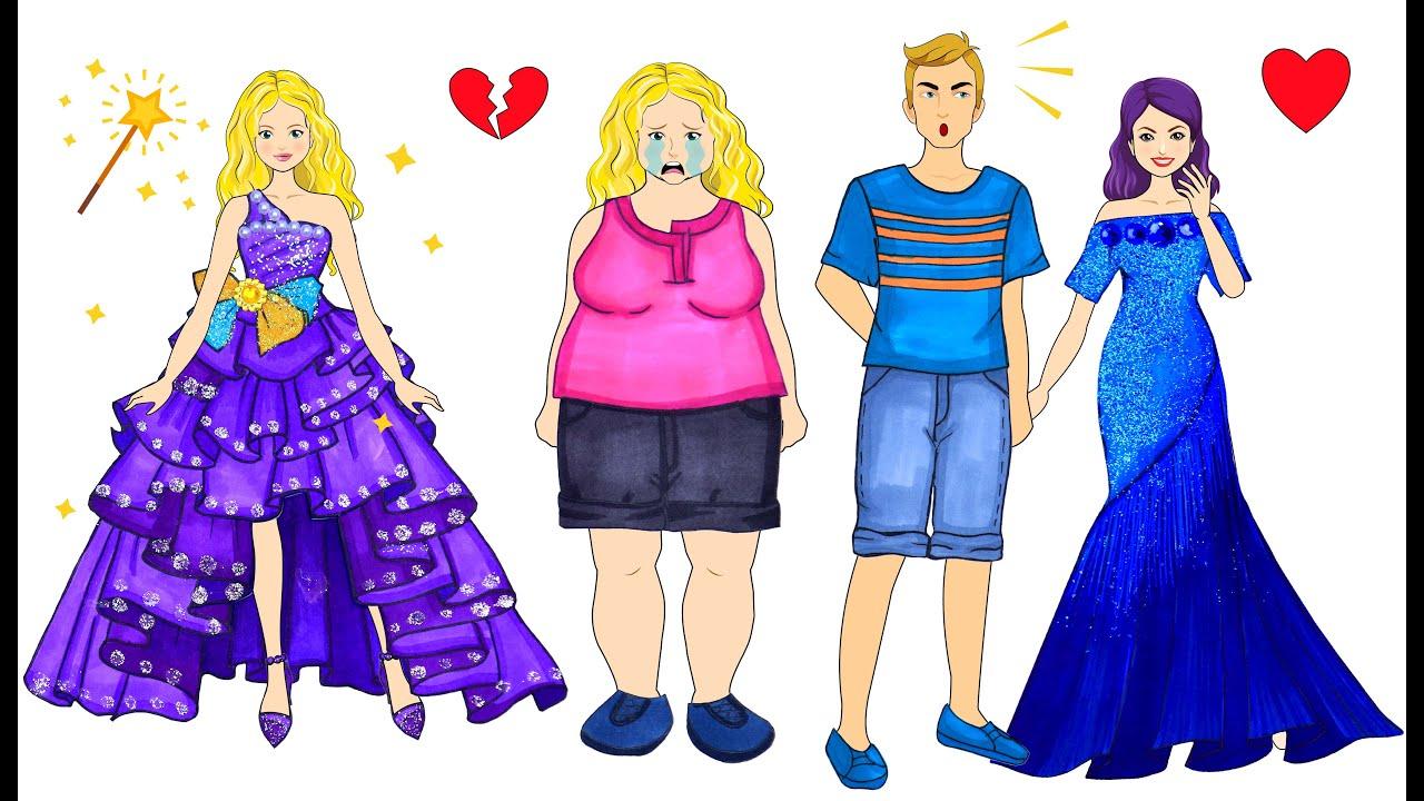 [DIY] Paper Dolls Super Fat Lost Her Husband! Fairy vs Witch! Beautiful Dresses Handmade Papercrafts