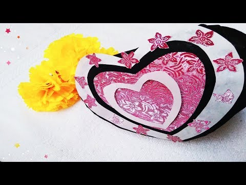 DIY : How To Make A Heart shape paper Gift Box - Heart Box - Paper craft