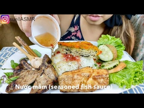 *No Talking* ASMR Vietnamese Grilled Pork Chop *BROKEN Rice* Mukbang 먹방 *Cơm Tấm Sườn Bì Chả*