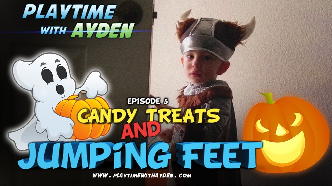 "Halloween fun - ""Candy Treats and Jumping Feet"" - Playtime with Ayden - Episode #5"