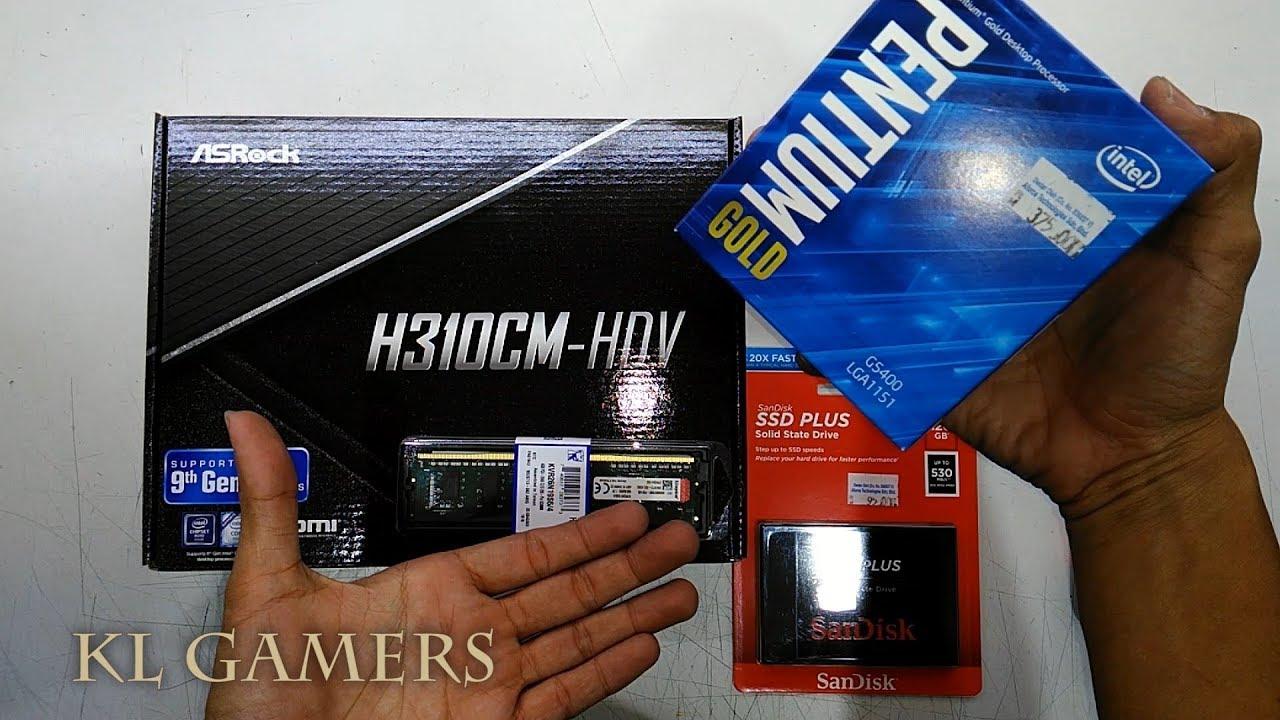 intel PENTIUM GOLD G5400 ASRock H310CM HDV Kingston 4GB DDR4 Sandisk SSD PLUS Budget Desktop 2019 - YouTube
