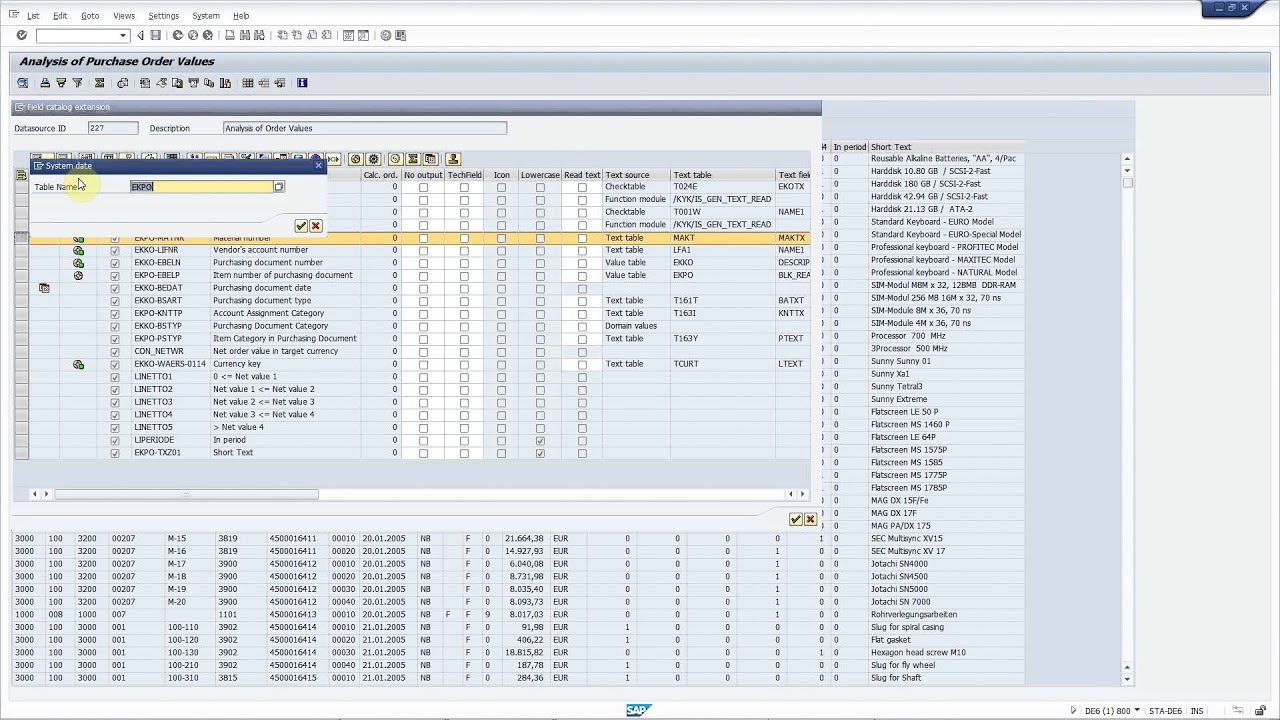 SAP transaction ME81N: Add new fields from the database to the ALV without  coding