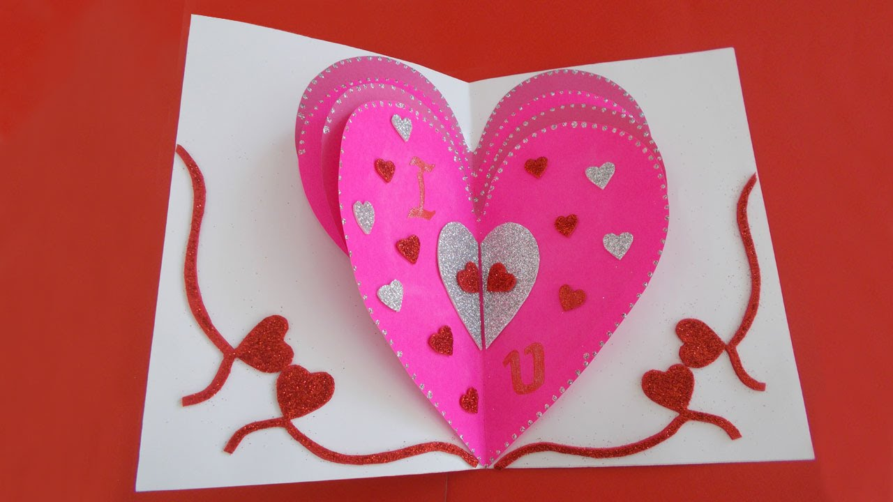 Valentines Day Heart Card Valentines Day Popup Card Tutorial – Creative Valentine Day Cards