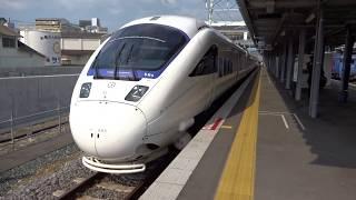 長崎新幹線の建設工事が進む諫早駅を出発する長崎本線上り特急かもめ885系