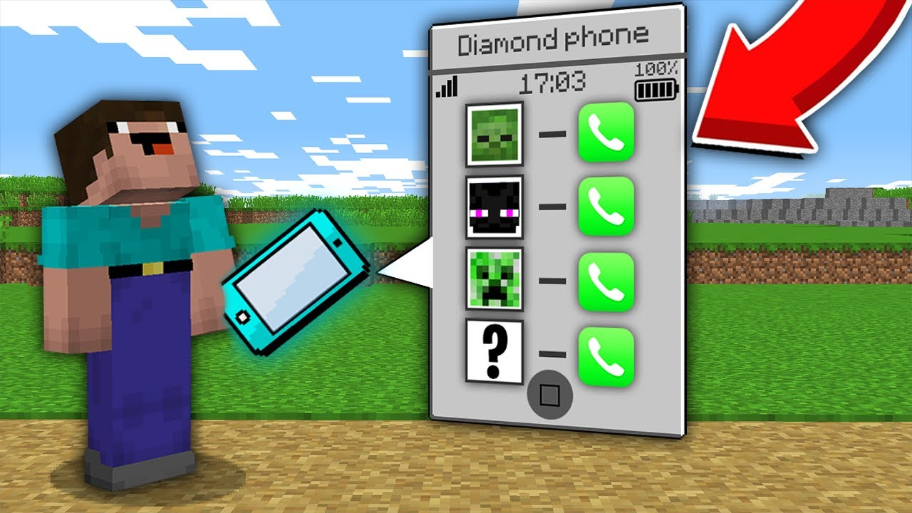 Minecraft NOOB vs PRO: WHICH SECRET MOB WILL NOOB CALL ON THIS DIAMOND PHONE? 100% trolling
