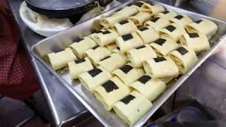 Macau street food - Phoenix Egg Roll with seaweed and pork floss 鳳凰蛋卷製作