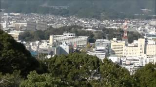 筆山(ひつざん)山頂より高知市内  高知県庁 高知城 五台山を一望する。