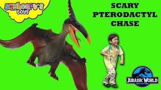 SCARY PTERODACTYL Chase - Hunting for Dinosaurs toys kids Jurassic World Outbreak Eggs Toddler