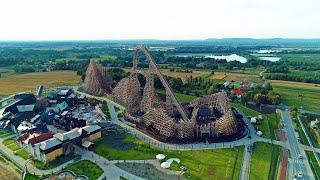 ZADRA Wooden Coaster ^ Drone ^ Premier Test - Energylandia Amusement Park Poland No. 1 in the World