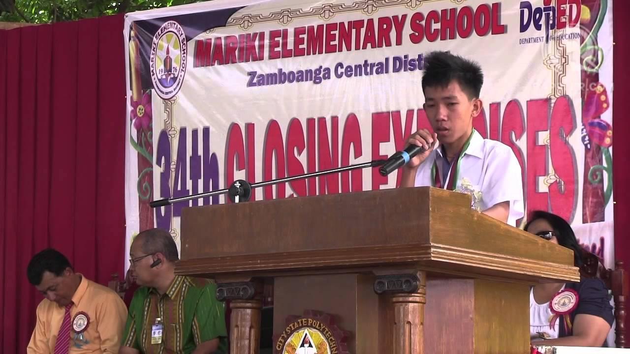 studymode sample of tagalog graduation speech for elementary
