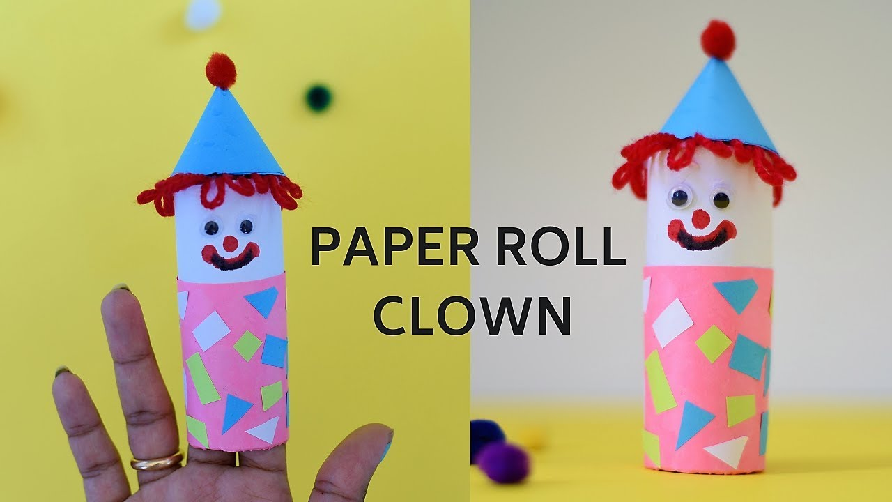 Finger Puppet Clown Craft Paper Roll Joker Easy Craft Ideas For Kids