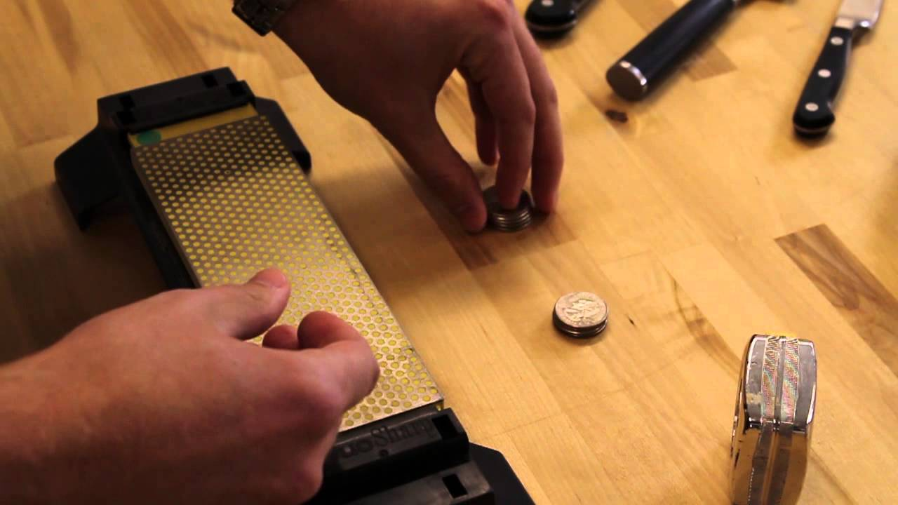 find your knife sharpening angle using quarters youtube