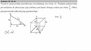Wysokość graniastosłupa prawidłowego czworokątnego jest równa 16  Przekątna graniastosłupa jest nach