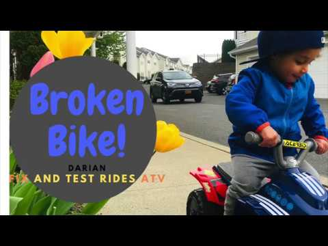 ATV Baby 2 Yr Old Fixes And Test Rides Quad In The Street