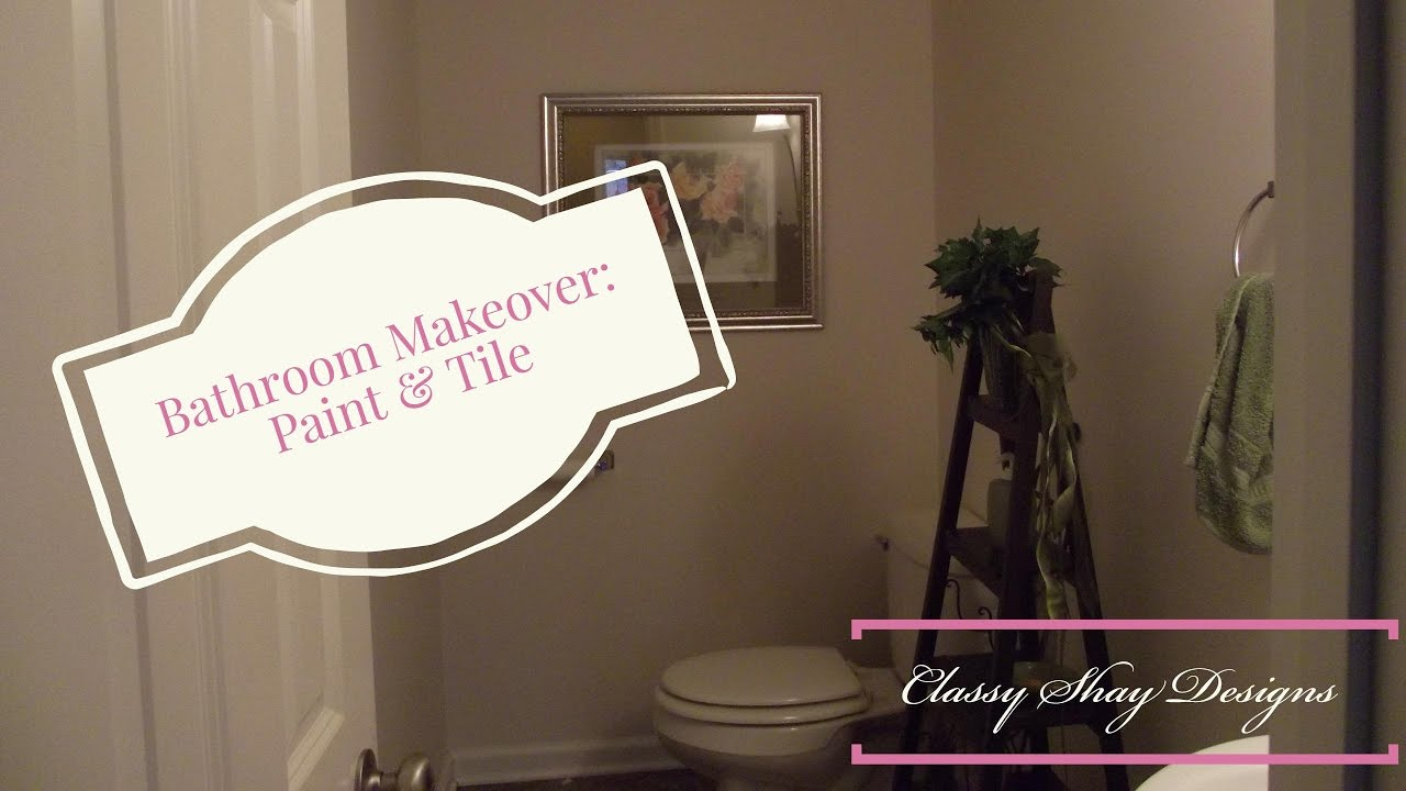 Bathroom Makeover Paint Tiles diy paint & tile {powder room talks} bathroom makeover - youtube
