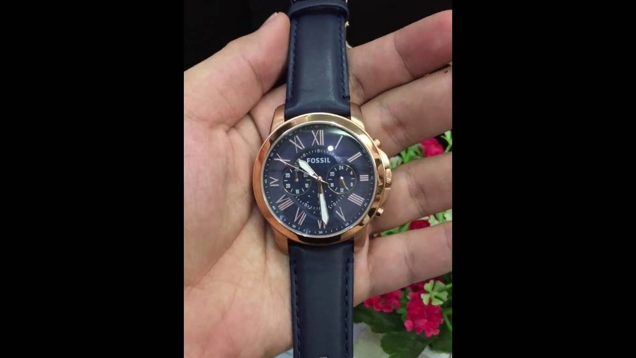 67546dc203f1 Fossil Men s FS4835 Grant Chronograph Leather Watch - Rose Gold-Tone and  Blue