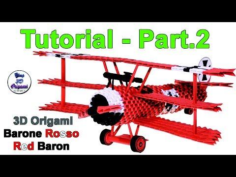 Origami 3d Airplane Fokker Dr.1 Tutorial...