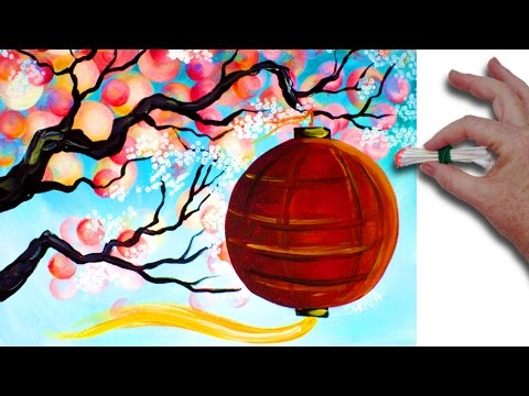 Q-tip 🎨🌷 Cherry Blossom Branch with red lantern 🎨🌷 Acrylic Painting