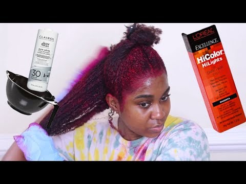 How I Dye My Natural Hair Burgundy | With No Bleach